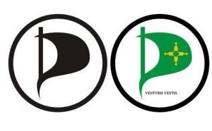 Marca do Partido Pirata no mundo e a do DF