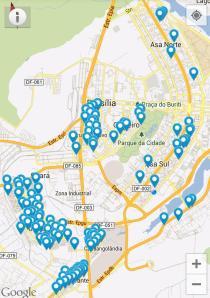 Algumas das centenas de pontos de acesso da Net na capital federal